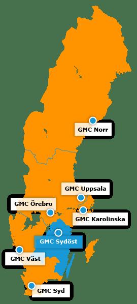 Karta över regionala GMC - GMC Sydöst