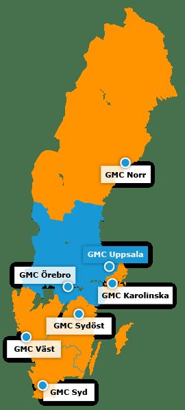 Karta över regionala GMC - GMC Uppsala