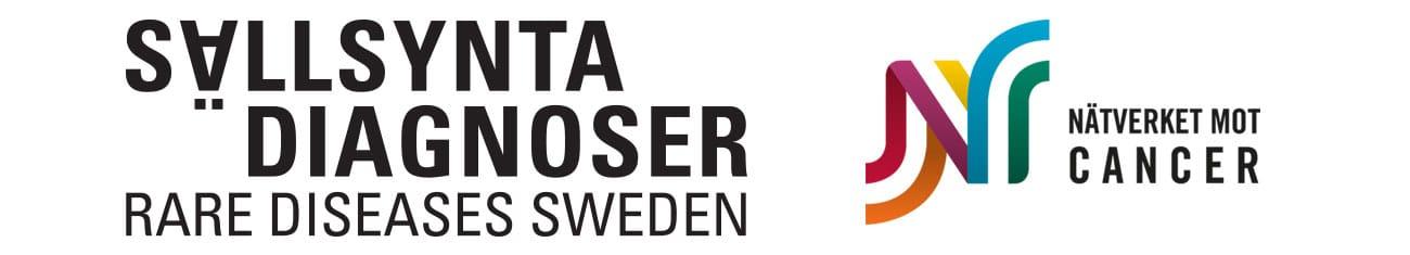 Nätverket mot cancer och Riksförbundet Sällsynta diagnosers logotyper